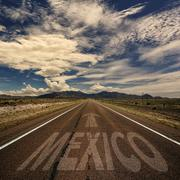 Desert Road With the Word Mexico Stock Photos
