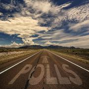 Conceptual Image of Road With the Word Polls Stock Photos