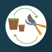 Gardening design. work and tools  concept - stock illustration