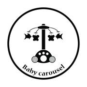 Baby carousel icon - stock illustration