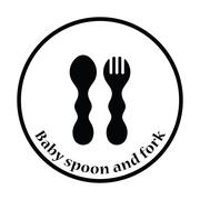 Baby spoon and fork icon Stock Illustration