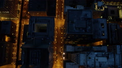 Aerial overhead night view of busy freeway traffic system Chicago USA Stock Footage