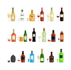 Set of different alcohol drink bottles Piirros