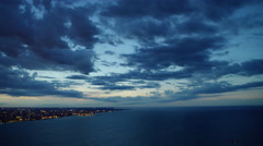 Aerial sunset view of Lake Michigan and Chicago city shoreline Stock Footage