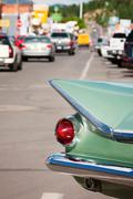 Tail fin on Route 66 - stock photo