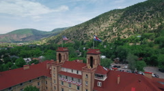 Aerial View of Glenwood Springs Mountain Town in Colorado Stock Footage
