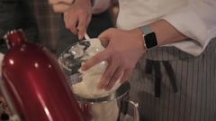 The cook kneads dough Stock Footage
