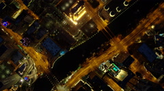 Aerial overhead illuminated view of Chicago city freeways and waterways - stock footage