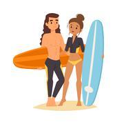 Surfing people vector set Piirros