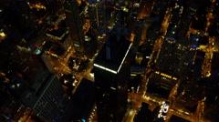 Aerial night view of metropolitan city of Chicago Illinois USA Stock Footage