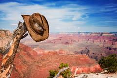 Hat hung on a branch near the Grand Canyon - stock photo