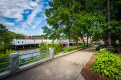 Gardens along the Cocheco River in downtown Dover, New Hampshire. Stock Photos