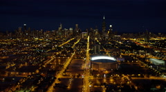Aerial night view of Chicago Bulls Baseball Sports Arena USA Stock Footage