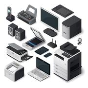 Isometric office equipment vector set - stock illustration