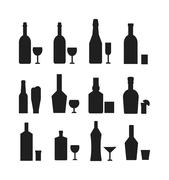 Different alcohol drink bottles black silhouette Piirros