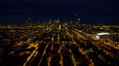 Aerial cityscape night view of urban areas and skyscrapers Chicago USA Stock Footage