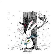 Cute cartoon hares. Winter. Stock Illustration