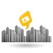 Smart city design. technology icon. multimedia concept - stock illustration
