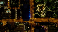 Aerial night view of Lake Shore Drive and downtown Chicago skyscrapers Stock Footage
