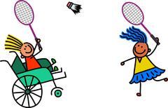 Disabled Girl Plays Badminton Stock Illustration