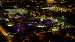 Aerial illuminated night view of a concert and amusement park Chicago USA Stock Footage