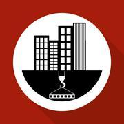 Construction design. crane icon. repair concept, vector illustration - stock illustration