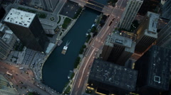 Aerial sunset view of Chicago city freeways and waterways - stock footage