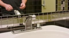 Man Washing Hands in Bathroom Sink close Stock Footage
