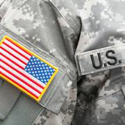 US flag and U.S. ARMY patch on military uniform - studio shot Kuvituskuvat