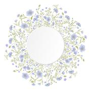 Detailed contour wreath with herbs and wild flowers - stock illustration