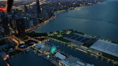 Aerial sunset view of Lake Michigan and Chicago Navy Pier Stock Footage