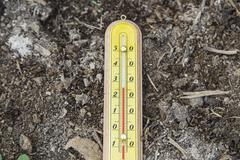 Outdoor Wooden Thermometer - stock photo