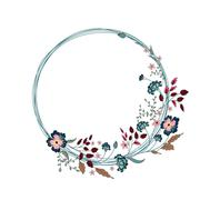 Floral Frame. Cute flowers arranged un a shape of the wreath - stock illustration
