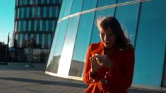 Euphoric woman rejoice of winning - stock footage