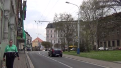 Trolleybus travels in traditional surrounding at Mlynska Street Stock Footage
