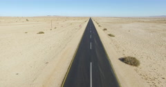 4K Aerial view of straight tarred road through the Namib desert Stock Footage