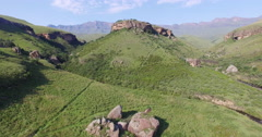 4K aerial view of Drakensburg mountain foothills Stock Footage