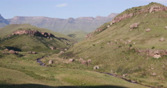 4K Panning shot of foothills of the Drakensburg mountains Stock Footage