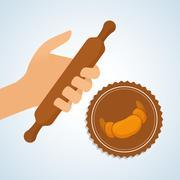 Bakery design. bread icon. seal stamp illustration - stock illustration