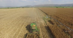 4K aerial view of combine harvester harvesting a corn field Stock Footage