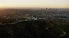 Aerial view of Griffith Park Observatory Los Angeles at sunrise Stock Footage