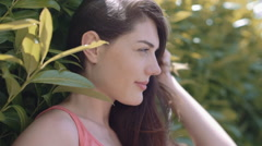 Young adult female enjoying outdoors - stock footage