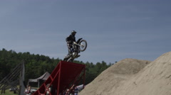 Extreme Freestyle Motocross Athlete jumps Stock Footage