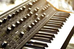 Keyboard synthesizer on stage before the concert Stock Photos