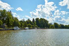 View of the beautiful lake in the park Stock Photos