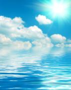Surface water ripple and reflection of soft sky and clouds background Stock Photos
