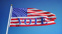 Vote 2016 Presidential Elections USA flag in slow motion looped with alpha - stock footage