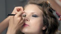 Makeup. Make-up. Eyeshadows. Eye shadow brush, eye lid, smockey eyes and Stock Footage