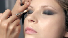 Makeup. Make-up. Eyeshadows. Eye shadow brush, eye lid, smockey eyes and - stock footage