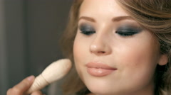 Makeup Applying closeup. Cosmetic Powder Brush. Perfect Skin Stock Footage